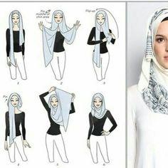 kumpulan gambar tutorial hijab segi empat sederhana terbaru simpel - my ely Square Hijab Tutorial, Simple Hijab Tutorial, Hijab Style Tutorial, Niqab Fashion, Modern Hijab Fashion, Islamic Fashion, Hijab Dress Party, Hijab Style Dress, Hijab Outfit