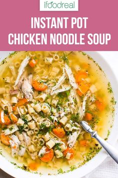 Flavourful and super easy Instant Pot Chicken Noodle Soup Recipe with whole chicken and your choice of noodles that need no pre-cooking and come out just perfect. Instant Pot Chicken Noodle Soup Recipe, Chicken Soup Recipes, Healthy Chicken Recipes, Real Food Recipes, Cooking Recipes, Slow Cooking, Chili Recipes, Pressure Cooking, Delicious Recipes