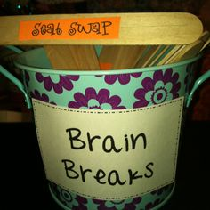 I could use these brain breaks to allow students a few minutes in long periods of working. I like the idea of the popsicle sticks because it allows for more variety than using the same few over and over.