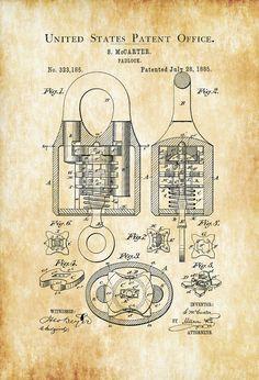 1885 Padlock Patent - Vintage Padlock Wall Decor Bizarre Art Bizarre Decor Vintage Tools Antique Lock Old Padlock Patent Print by PatentsAsPrints Bizarre Kunst, Art Bizarre, Wall Art Prints, Poster Prints, Blueprint Art, Chalkboard Decor, Patent Drawing, Vintage Tools, Patent Prints