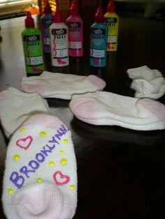 Homemade gripper socks.