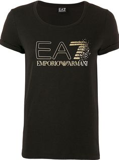 Black cotton logo print Tshirt from Ea7 Emporio Armani featuring a round neck short sleeves a slim fit and a straight hem. Armani Logo, Armani Black, Cotton Logo, Emporio Armani, Black Cotton, Size Clothing, Women Wear, Short Sleeves, Logos
