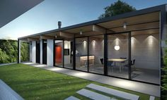 Fotos de quinchos cerrados con asadores Outdoor Rooms, Outdoor Decor, Garden Office, House Extensions, House Plans, New Homes, Backyard, House Design, House Styles