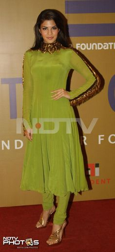 Jacqueline Fernandez who is mostly seen in western outfits, opted for an Indian outfit. The Race 2 actress was elegant in a green Anand Kabra churidar.