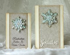 Handmade christmas card with glitter snowflake. Sizzix' dies. Made by pastellipäivä.
