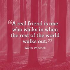 """A real friend is one who walks in when the rest of the world walks out."" - Kevin Peralta"