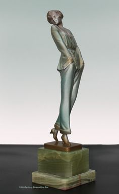 "An Art Deco Austrian bronze figure by Josef Lorenzl, circa 1930 ""Pyjama Girl""."