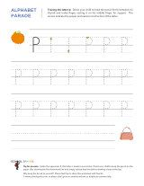 Lowercase p letter tracing worksheet, with easy-to-follow arrows showing the proper formation of the letter.