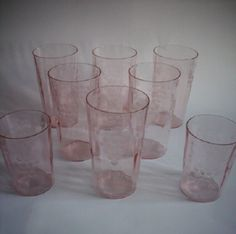 8 Piece Pink Depression Glasses