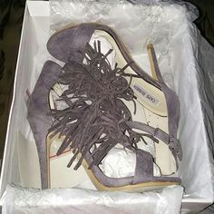 Suede fringe heels  BNWT gray suede heels. Comes with box and has extra heel pads. Adjustable buckle to tighten around ankle. Wet Seal Shoes Heels