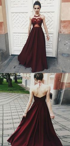 Chic burgundy halter prom party dresses, fashion party #homecomingdress#fashion#promdress#eveningdress#promgowns#cocktaildress