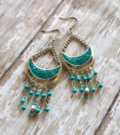 Chandelier Style Earrings Turquoise Silver Metal by Cheshujewelry