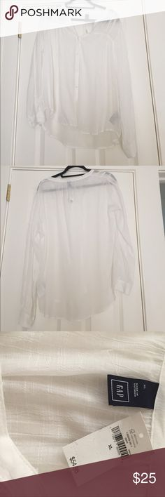 NWT Gap sheer button down embroidery top size XL New with tags! Beautiful and feminine sheer summer top. Wear it over a camisole or bathing suit. V-neck with 5 buttons going down add to the delicate appeal of this piece. Pretty embroidered detailing near shoulders. Size XL GAP Tops Button Down Shirts