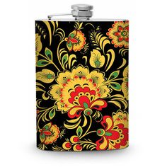 Trippy Floral Stainless Steel 8oz Hip Flask Hipster Mod Modern Boho... ($19) ❤ liked on Polyvore featuring home, kitchen & dining, bar tools, dark olive, drink & barware, home & living, stainless flask, drinking flask, stainless steel flask and stainless steel hip flask