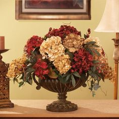 decorating with artificial flowers | Grande Silk Hydrangea Silk Flower Arrangement | HOME DECORATING