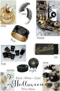 Black, White + Gold Halloween Party Ideas