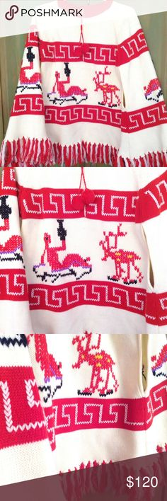 😍GORGEOUS 70's TRIBAL Fringe PONCHO Red, Tan, Purple outline and Black Large and Roomy ETHNIC PONCHO ❤️ Poncho features needlepoint images of tribal figures on front and back; Pom-Pom Tie at neck ; Quarter-Zipper Closure with two armholes that measure 7 inches long ❤️Garment measures: 30 inches long from Neck to bottom of Fringe •36 wide from Left to Right •7 inches long  Arm Holes. IMO would fit M-L comfortably. No labels or tags are present 🌟 Vintage Jackets & Coats