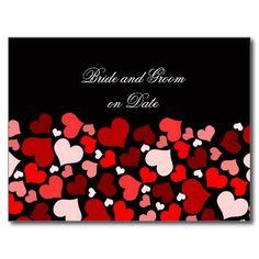 Luxury Elegant Black/Red Hearts Save date card Postcard
