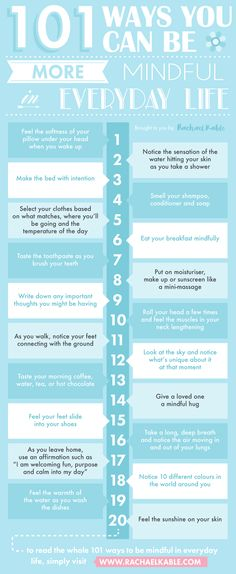 101 ways you can be more mindful in everyday life