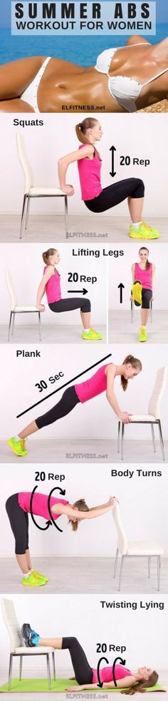 Here are five simple exercises with a chair, which will help bring the stomach into shape. All you need a simple chair and 10 minutes a day.
