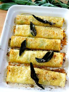 Butternut Squash Cannelloni with Ricotta and Kale and a Lemony Sage Brown Butter Sauce - Proud Italian Cook