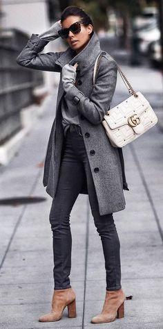 trendy winter outfit / grey coat + bag + sweater + skinny jeans + heels