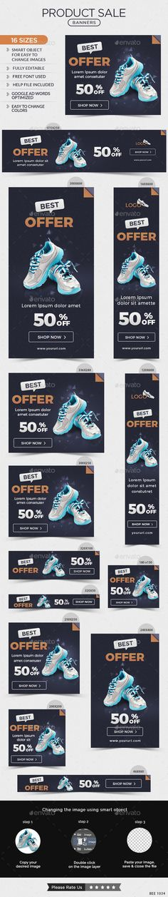 Product Sale Web Banners Template PSD #design #ads Download: http://graphicriver.net/item/product-sale-banners/14067350?ref=ksioks
