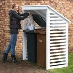 Build a Shed on a Weekend - Id like this for our trash container too. Build a Shed on a Weekend - Our plans include complete step-by-step details. If you are a first time builder trying to figure out how to build a shed, you are in the right place! Diy Storage Shed Plans, Wood Shed Plans, Free Shed Plans, Diy Shed, Garage Storage, Bin Storage, Deck Plans, Storage Sheds, Porch Plans