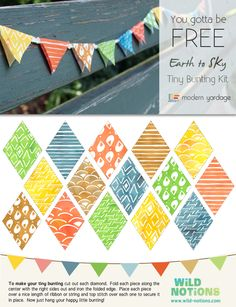 Earth to Sky Tiny Bunting Kit by Katie Schrader of Wild Notions.  #modernyardage #project #free