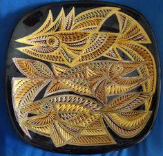 "ISRAEL sign AVRAHAM GOFER glazed ceramic HUGE 16.5"" wall plate art pottery fish  #gofer Pretty Fish, Fish Wall Art, Plate Art, Glazed Ceramic, Plates On Wall, Pottery Art, Israel, Sign, Ceramics"