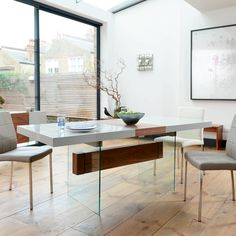 treble extending dining table light grey and walnut - dwell