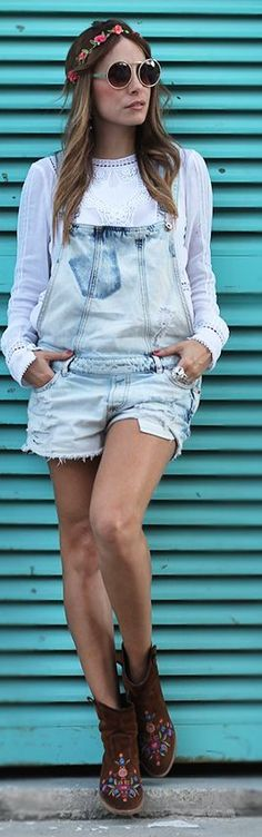 Tendance salopette 2017  Zara Light Blue Vintage Acid Wash Denim Cut Off Romper