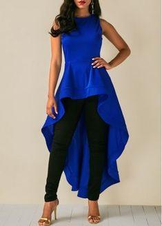 Round Neck Sleeveless Royal Blue High Low Blouse | modlily.com - USD $28.61