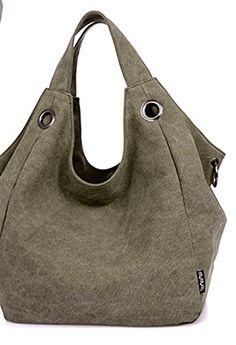 Rain Day Fashion Womens Vintage Canvas Hobo Bag Shoulder Bag (Army green)