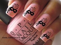 Peachy pink masquerade party nail art by OPI check out www.MyNailPolishObsession.com for more nail art ideas.