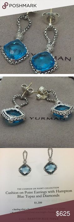 David Yurman cushion on point earrings topaz DY hallmark 925 and 11mm topaz with pave diamonds and knock out!! Will come with big black Yurman box and papers and cleaning cloth and pouch for travel . David Yurman Jewelry Earrings