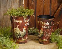 New Country Farmhouse Chic 2 Fresh Egg Hen Rooster Chicken Utensil Holde Bucket