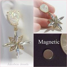 MAGNETIC EarringsWHITE Opalescent & Rhinestones by JuiceboxJewels