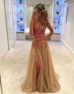 beige nude tulle long prom dress with pink flowers