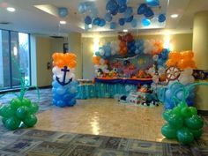 Kids Birthday Party Theme Decoration Ideas Kids party theme decoration should flow throughout the day. A birthday party theme for a k. Birthday Party At Home, Birthday Party Themes, Carnival Birthday, Birthday Ideas, Birthday Party Centerpieces, Birthday Decorations, House Decorations, Under The Sea Party, Baby Shower