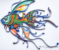 """""""Ichthy"""" the quilled fish by artist Stacy Bettencourt of Mainely Quilling. Find more original artwork on Pinterest and Facebook."""