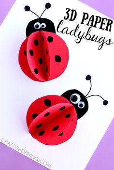 3d paper ladybugs