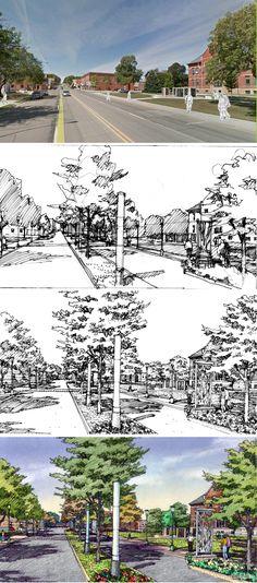 RDg Planning + Design, Des Moines.  Sac City streetscape.  Hand rendering by Bruce Bondy, Bondy Studio