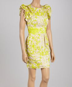 Another great find on #zulily! Green & Beige Ruffle Dress - Women by Jessica Simpson Collection #zulilyfinds
