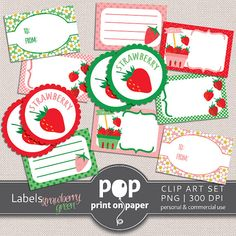 Strawberry Clipart Labels STRAWBERRY GREEN Clip by POPprintonpaper, $4.00