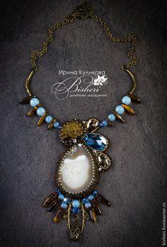 """Купить Кулон """"Дух времени"""" - коричневй, голубой, кулон, украшение на шею, красивое украшение, новинка"""