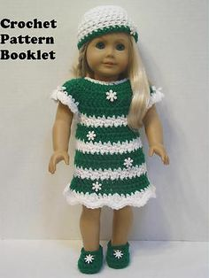 GW33 Crochet Pattern Dress with Snowflakes Fits Most 18 inch Dolls