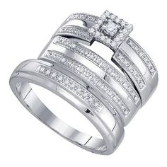 Jewelry Masters : .23 Carat Princess Shape Diamond Engagement Halo Ring Wedding Band Bridal Set + Mens Wedding Band [81585] - $199.00 (400.00)