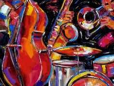 African American Acrylic Painting | Red Jazz Painting