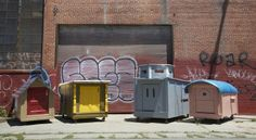recycled materials used by artist to house homeless